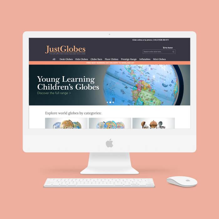 Image of JustGlobes desktop website.